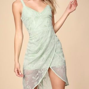 Lulus sage screen tulip dress